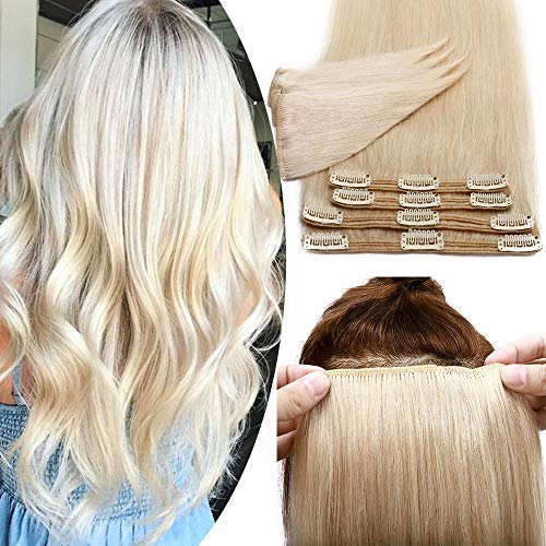 Elailite Extension Capelli Veri Clip Biondi Volumizzante 55cm - 8 Fasce Remy Human Hair Extensions Folte Double Weft 160g, 60 Biondo Platino