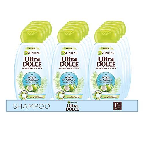 Garnier Multi Pack Ultra Dolce Shampoo Acqua di Cocco e Aloe Vera, Idrata i Capelli Senza Appesantire, 300 ml, Confezione da 12