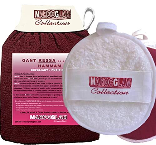 Guanto esfoliante + Puff Viso OFFERTO per esfoliazione della pelle ed eliminazione della pelle morta, realizzato a mano, di buona qualità. esfoliazione delicata, per corpo e viso. MAROC GLAM