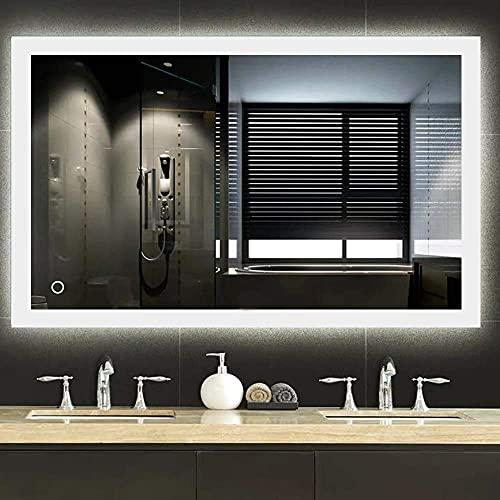 meihe® - Specchio da bagno a LED, per bagno, anti-appannamento, specchio luminoso, cosmetico [classe energetica A++], 70 x 90 cm, bianco freddo