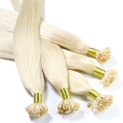 Hair2Heart 25 x 0.5g Extension Capelli Veri Cheratina - 40cm, Colore #60 Boindo Platino, liscio