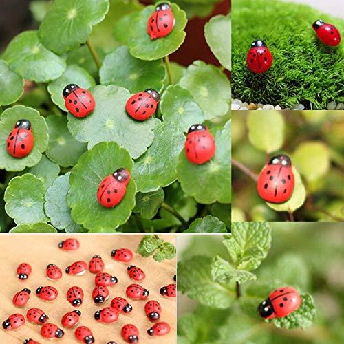 ZQALOVE Nuova 10pcs Miniatura Coccinella septempunctata Resina Artigianato Fai da Te Little Garden Tatuaggi