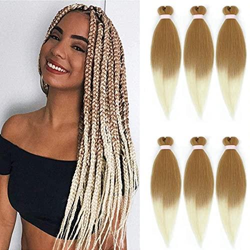 ZHANSAI Capelli Intrecciati Pre allungati Extension, 6 Packs 66 cm Capelli Per Treccine Africane Yaki Hair Braid Extension Capelli Sintetici Uncinetto Treccia Estensione