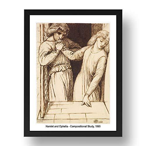 Periodo Prints Hamlet e Ophelia-Composizione 1865 di Dante Gabriel Rossetti, arte pre-Raphaelite, riproduzione A3 in cornice nera 17x13 (A3)