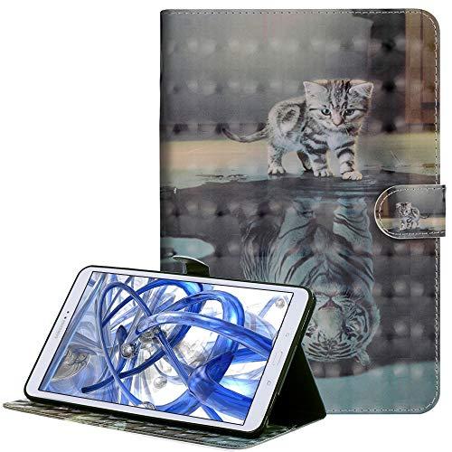 A-BEAUTY Galaxy Tab E 9.6 Custodia, 3D Brillante Modello Dipinto Cover in Pelle Portafoglio Flip Stand Caso Smart Cover per Samsung Galaxy Tab E 9.6 SM-T560/ SM-T561N, 3D Cat And Tiger