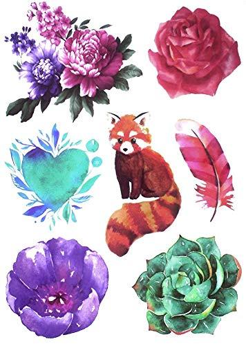 Tatuaggi con fiori e orsetto lavabile, tatuaggi con rose P43