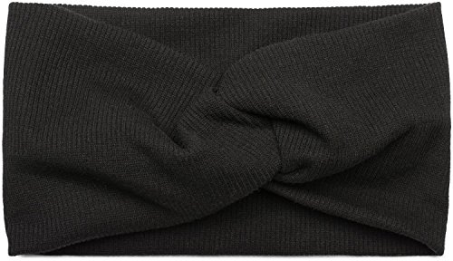 styleBREAKER fascia per capelli a coste sottili con nodo, fascia per capelli, da donna 04026009, colore:Nero
