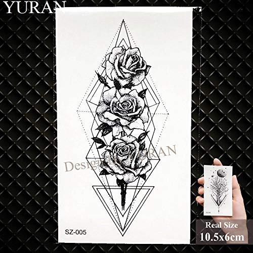 tzxdbh Triangolo Fiore Tatuaggio Temporaneo Braccio Donna Tatuaggio Corpo Tribale Piuma Rosa Tatuaggio Impermeabile Nero-GSZ005