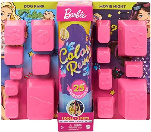 Barbie- Ultimate Color Reveal Bambola con 25 Sorprese, 2 Cuccioli, 15 Sacchettini con Abiti e Accessori, Modelli Assortiti, Giocattolo per Bambini 3+Anni, GPD56