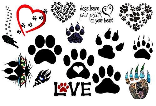 cagna cane dog Collezione di tatuaggi temporanei Temporary Tattoos collection (Tatuaggio di zampa stampe c1 Paw Prints tattoo)