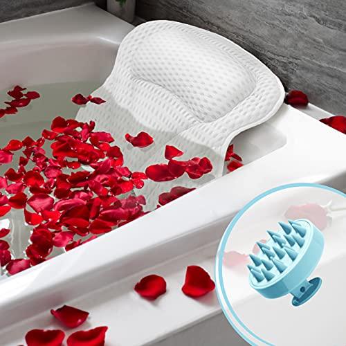 buonson Cuscino Vasca da Bagno 4D con 6 Ventose Antiscivolo - Gratis Spazzola Massaggiante Testa per Un Relax Spa da Sogno - Cuscino Poggiatesta Ergonomico per Tutti i Tipi di Vasca