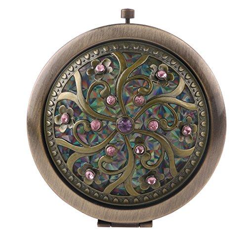 Supvox circolare a forma di mini Compact Pocket Mirror Antique rotonda borsa vintage astuccio pieghevole trucco specchio