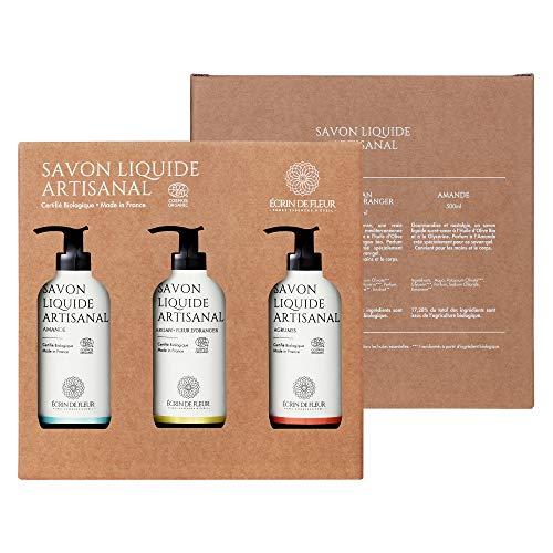 Écrin De Fleur – Sapone Liquido Artigianale – Confezione di 3 Flaconi (Argan & Fiori d'Arancio, Agrumi, Mandorla) - per Corpo e Mani, Ingredienti Naturale, Certificato Biologico da Ecocert - 3 x 500ml