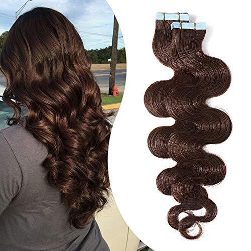 Elailite Extension Adesive Capelli Veri Biadesivo 20 Fasce Biadesive Ricci Mossi Remy Human Hair Umani Tape Extensions 50g/Set, 55cm #4 Marrone Cioccolato