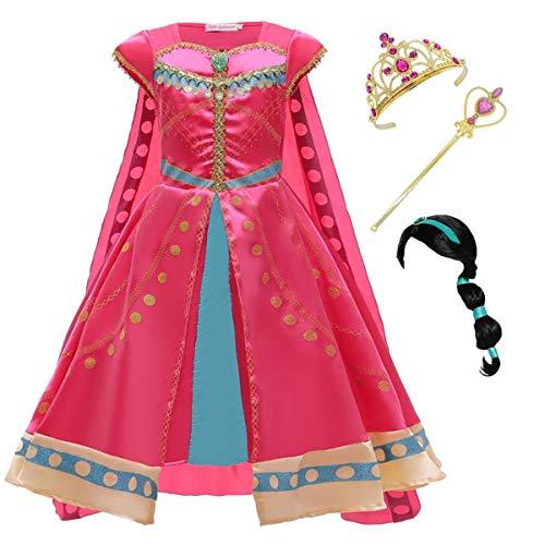 Kosplay Costume da Principessa Jasmine Vestito Carnevale Bambina con Parrucca e Mantello Vestire Aladdin Costumi per Festa Danza Compleanno Halloween Cosplay 100-150cm
