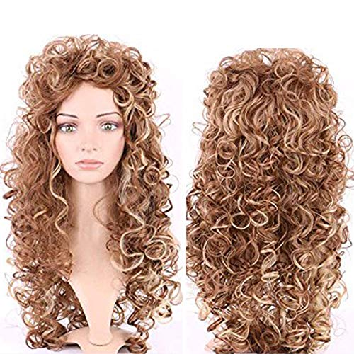 SEGO Parrucca Bionda Lunga Riccia Donna Capelli Ondulati Fashion Full Wig 66cm per Cosplay Halloween Carnevale Natale Feste Party - Biondo Highlight