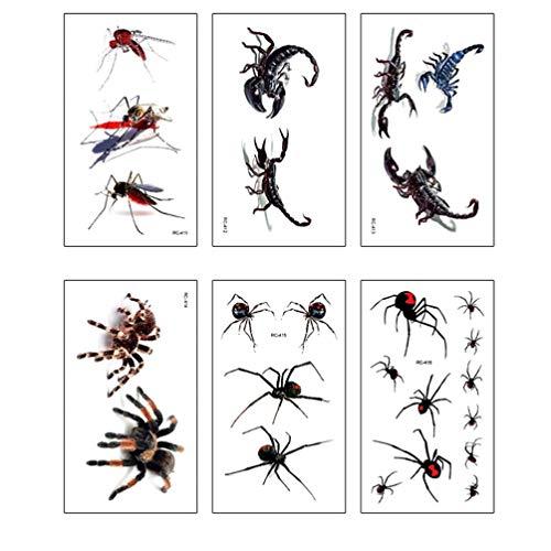 TENDYCOCO Tatuaggi Temporanei Adesivi Tatuaggi Finti di Halloween Modello 3D Spider Scorpione per Festa a Tema 30 Fogli
