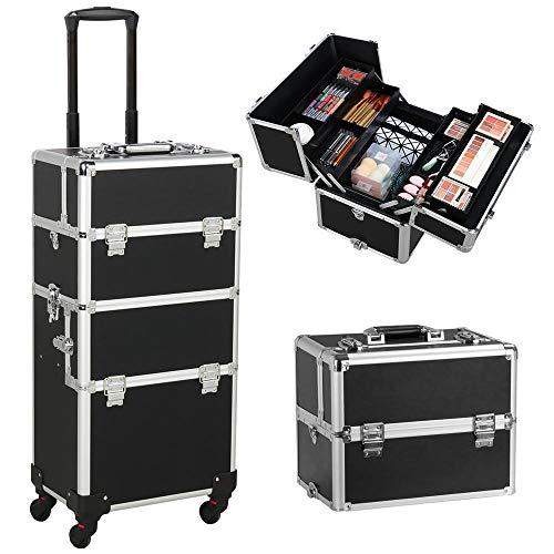 Yaheetech Valigia Trolley Make Up da Trucco per Estetista Professionale Grande Beauty Case Porta Trucchi da Viaggio Telaio in Alluminio 36 x 24 x 78 cm Nero