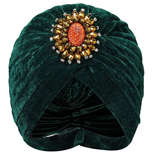 Coucoland - Cappello turbante da donna con spilla di cristallo stile anni '20, fascia per capelli esotica, retrò, turbante indiano, costume di carnevale verde Taglia unica