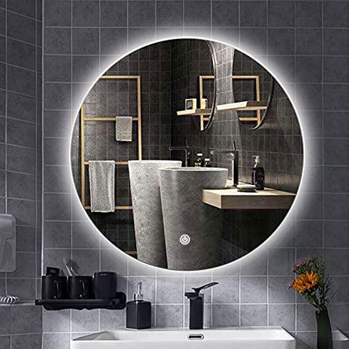 Specchio da bagno a LED Specchio da trucco per trucco con luce dimmerabile Specchi illuminati antiappannamento a parete, Specchio retroilluminato rotondo illuminato, Controllo interruttore tattile