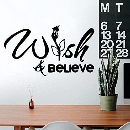 Adesivi Da Parete, Tatuaggi Da Parete, Funny Wish Believe Wall Art Decal Sticker Decorativo Per Camerette Vinyl Art Decal 49X28Cm