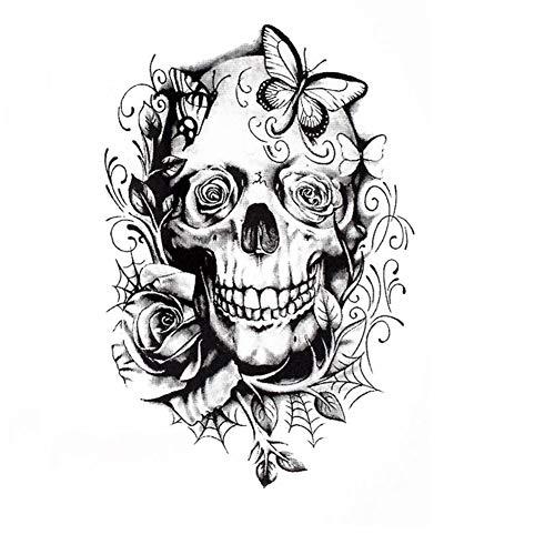 Justfox - Tatuaggio temporaneo a forma di teschio con rose, design temporaneo