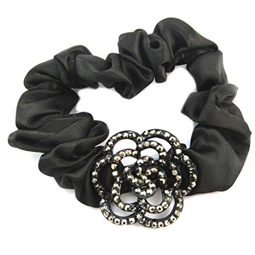 Les Trésors De Lily [P6094] - Designer cara 'Sissi' nero grigio (satinato)- larghezza 2 cm, fiore 3 cm.