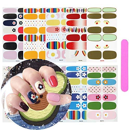 Kalolary Adesivo Smalto per Unghie Con 1 lima per unghie, 10 Fogli Copertura Completa Colorato Autoadesivo Punta Unghie Art Sticker Decalcomanie Manicure Fai da Te Decorazioni Strumenti