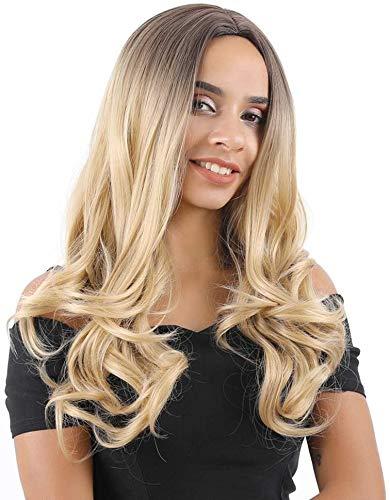 Yunsi - Parrucca bionda da ombra, da donna, con radici scure, biondo miele, parrucca sintetica con capelli lunghi e ricci sintetici, per donne, cosplay, feste, uso quotidiano