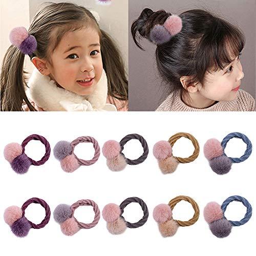10 pezzi legami di capelli elastici palla di pelo carino palla di pompon fascia per bambini titolari di coda di cavallo accessori per capelli (colore misto)
