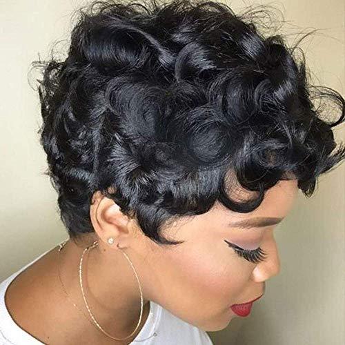 TOOCCI Parrucca Donna Capelli Umani Veri Parrucche Capelli Veri Ricci Pixie wig Afro Curly Human Hair Wigs With Bangs Brazilian Wigs Human Hair 130% Density