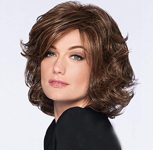 Parrucca castana con capelli corti tinti soffici da donna