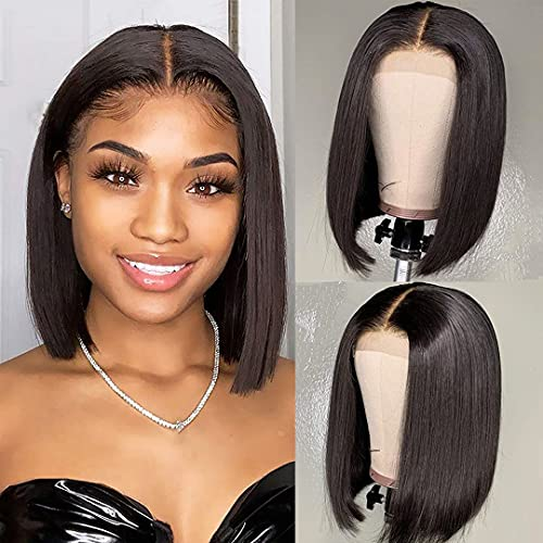 PORSMEER Parrucche castana caschetto lace front parrucche donna lisci Bob lace front wigs hair 10 inch Colore naturale marrone