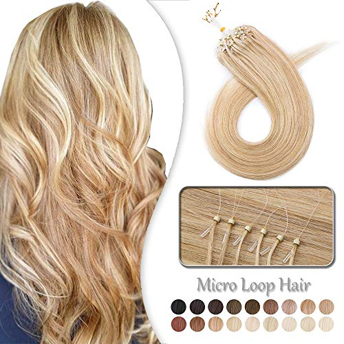 Elailite Extension Capelli Veri Anelli Micro Loop 100 Ciocche Remy Human Hair con Microring Anellini 40cm 50g #18/#613 Beige Sabbia Biondo mix Biondo Chiarissimo