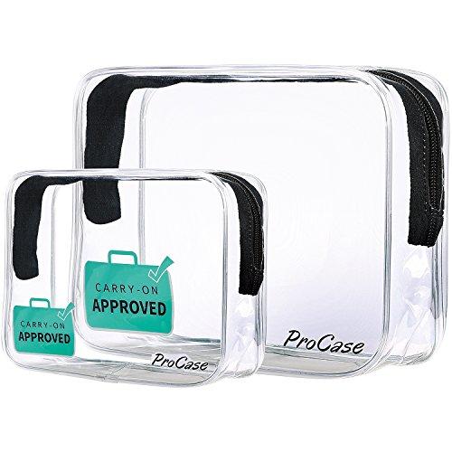 (2 Pack) ProCase Beauty Case Trasparente da Viaggio TSA Approvato, Quart Dimensione Cerniera Organizzatore Linea Aerea Conforme Borsa Bagaglio a Mano per Liquidi Creme Gel 3-1-1 Kit -Grande + Piccolo