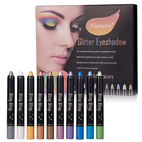 Eyeshadow Pencil, Stick Eyeshadow, Ombretto Penna, Set Ombretti Glitter, Palette Ombretti, Professionale Tavolozza Ombretti, Professional Colori Glitter Make Up Palette, 10 Colori