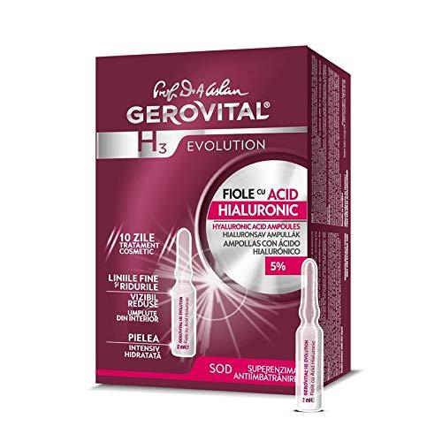 Gerovital H3 Evolution 229 Fiale con Acido Ialuronico Alta Concentrazione 5%, 30+ Anti-Età - 10 Fiale X 2 ml