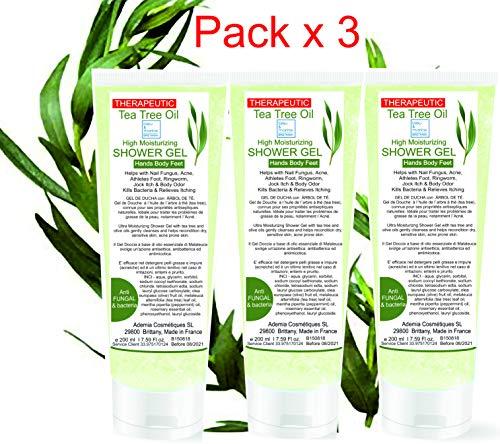 Gel disinfettante antibatterico GEL DOCCIA con Tea Tree Olio (albero del tè) Pack 3x200ml - Azione antimicotica-antibatterica. Detergente multiuso alla melaleuca ad effetto antibatterico