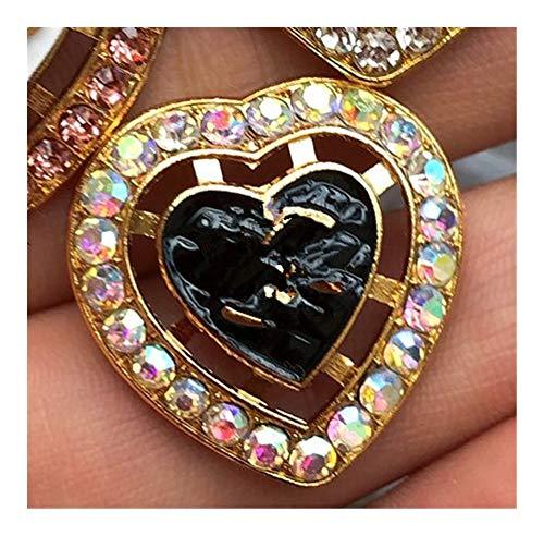 SLZC Diamante Button Coat Top Tasti di Abito Versatile Diamante Set di Cristallo delle Donne del Tasto del Diamante (Color : Dark Grey)