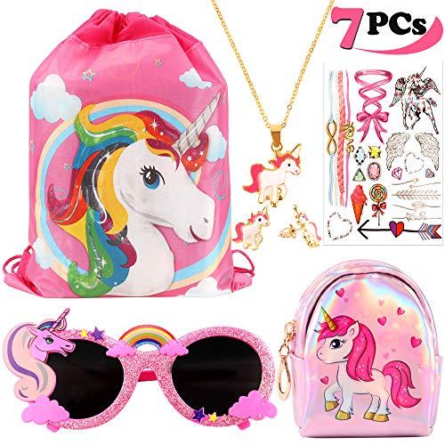 vamei 7Pcs Borsa Unicorno Bambina Zaino Unicorno Regali per Ragazze Collana Unicorno Occhiali Orecchini Tatuaggi Temporanei Bambini