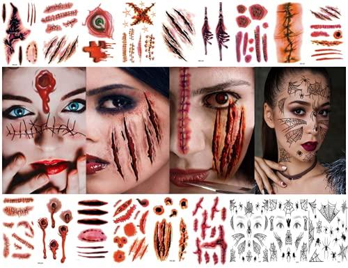 Tatuaggi temporanei 18 fogli Tatuaggi di Halloween Cicatrici Tatuaggi spaventosi di ragnatela Halloween Fright Night Masquerade Party