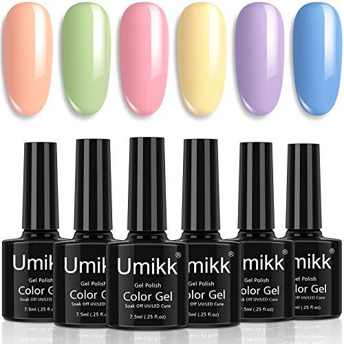 Umikk Set di smalti in gel 6 colori pastello Verde corallo Rosa Giallo Viola Blu Colore primavera estate 7,5 ml Cura UV LED per unghie artistiche Manicure pedicure