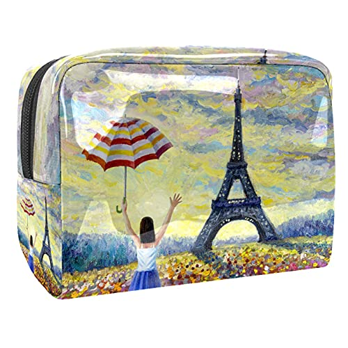 Cosmetic Bag for Women Oil Painting Beautiful Adorable Roomy Makeup Bags Travel Waterproof Toiletry Bag Accessories Organizer 7.3x3x5.1 Inch