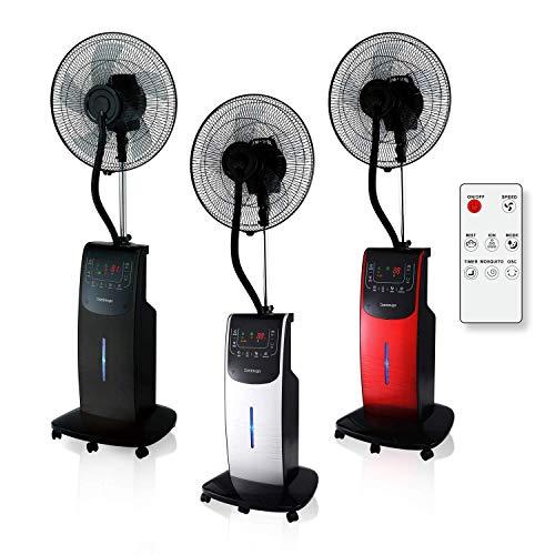 Dardaruga VENTILATORE DIGITALE WFD a Piantana con NEBULIZZATORE ad Acqua (Serbatoio XXL 3,10 Litri) IONIZZATORE ION, ANTIZANZARE Repellente Insetti Vano AROMA Timer Telecomando Oscillazione (ARGENTO)