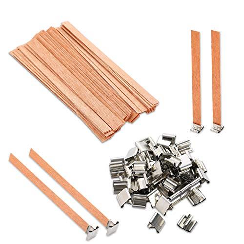 VABNEER Stoppini in legno Stoppini Candela Naturale con piastra in ferro antiscivolo per Candele Fai Da Te 13 x 130mm (50pcs/set)
