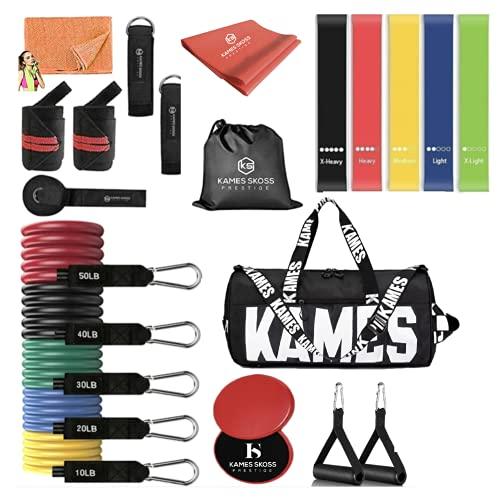 kames skoss prestige- Fasce per Esercizi e Resistenza,Banda Elastica, Elastici per Allenamento per Sport Indoor e Outdoor, Fitness (Kit Resistance Bands)