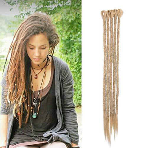 Elailite Dreadlock Extension Capelli Sintetici Dread Extension Rasta per Treccine Lunghe Braids Hair Treccia Fibre 50cm da Donna Uomo, Confezione da 5, Biondo Cenere