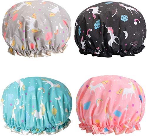 Cuffia da doccia con unicorno, doppio strato, impermeabile, con fascia elastica riutilizzabile, per donne e ragazze, confezione da 4