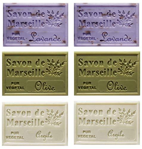 Piccolo Stock 6 (sei) pezzi Saponetta di Marsiglia 125g Profumazioni miste 6 pz x 125g Lavanda Oliva Argilla
