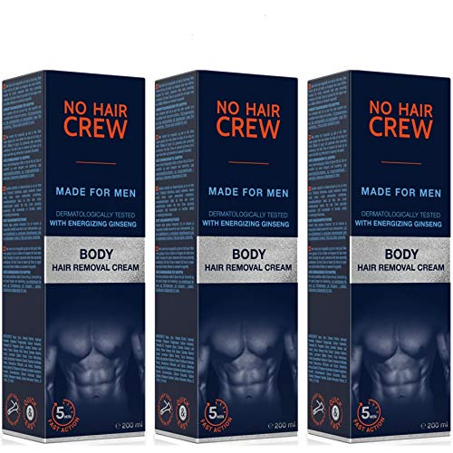 3 X NO HAIR CREW Crema Depilatoria Corpo Di Prima Qualità Per Uomo (3 X 200 ml)